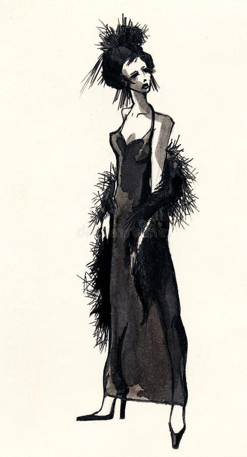 красивейшая нарисованная женщина эскиза чернил руки бесплатная иллюстрация
