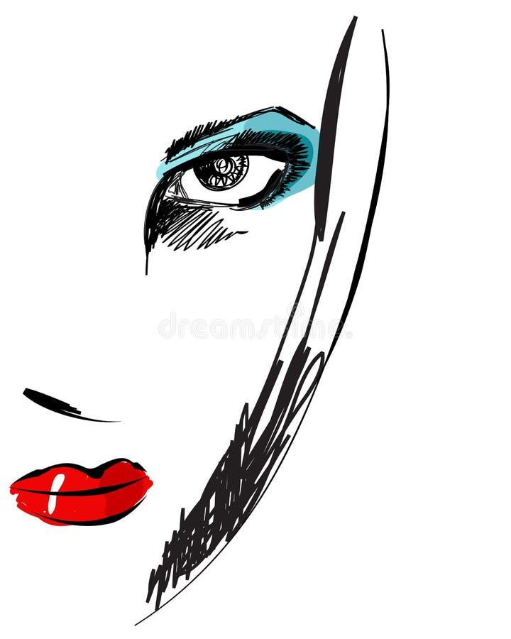 красивейшая нарисованная шикарная женщина типа портрета руки бесплатная иллюстрация