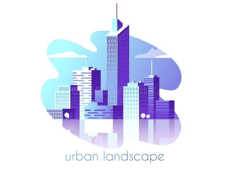 красивейшая ноча ландшафта иллюстрации города Современная архитектура, здания, небоскребы Плоская иллюстрация вектора стиль 3d бесплатная иллюстрация