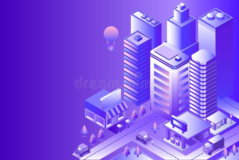 красивейшая ноча ландшафта иллюстрации города иллюстрация вектора