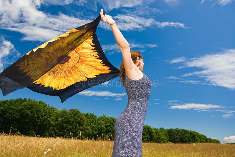 Download красивейшая померанцовая женщина шарфа Стоковое Изображение - изображение насчитывающей праздник, bodysuits: 6855617