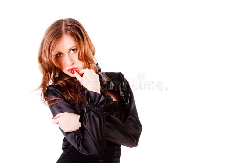 красивейшая прелестно куртка девушки скромная стоковое фото