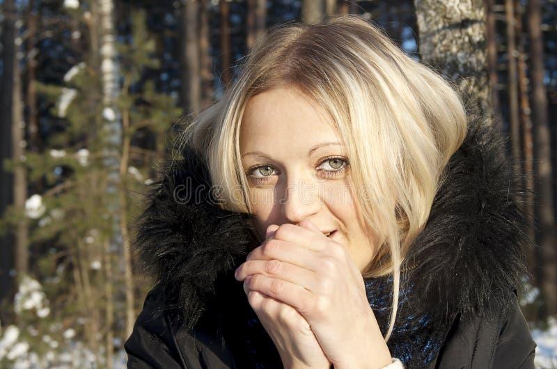 красивейшая природа девушки замораживаний стоковые фото