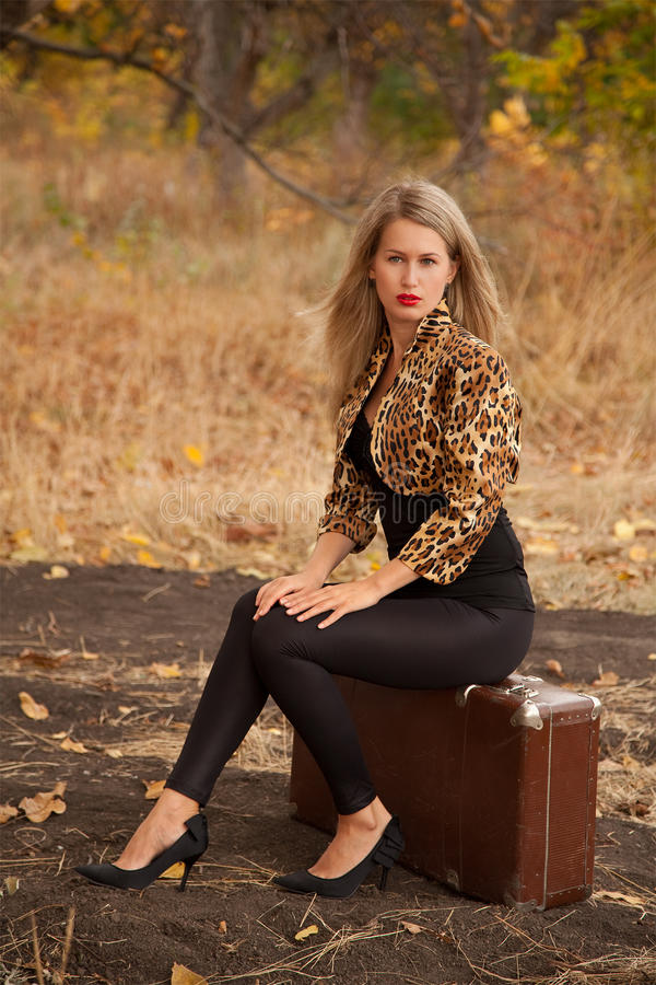 красивейшая сидя женщина чемодана стоковое изображение