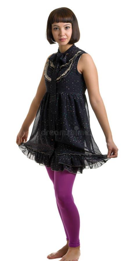красивейшая темная девушка платья стоковые изображения rf