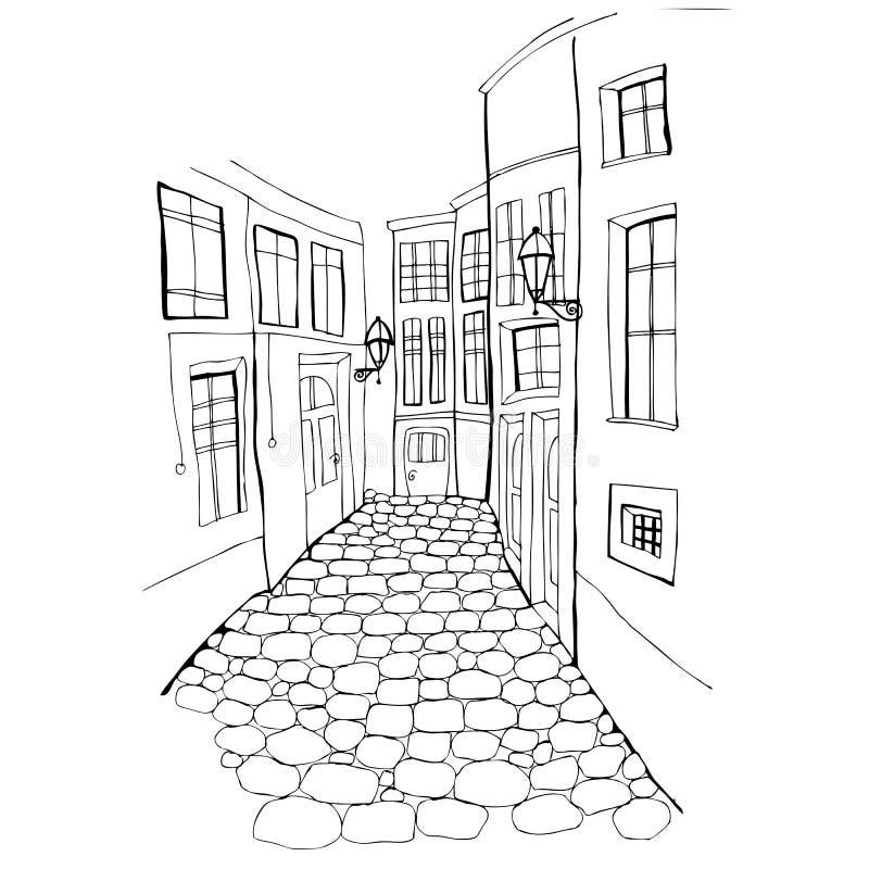 красивейшая улица иллюстрации иллюстрация вектора