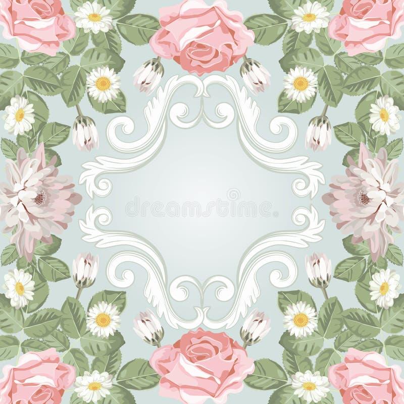 Красивейшая флористическая рамка Шаблон для ваших текста или фото иллюстрация вектора