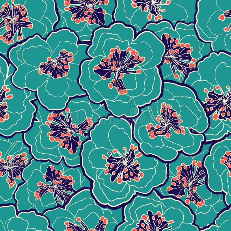 красивейшая флористическая картина безшовная Цветки пастели цветения сада также вектор иллюстрации притяжки corel Безшовную карти иллюстрация вектора