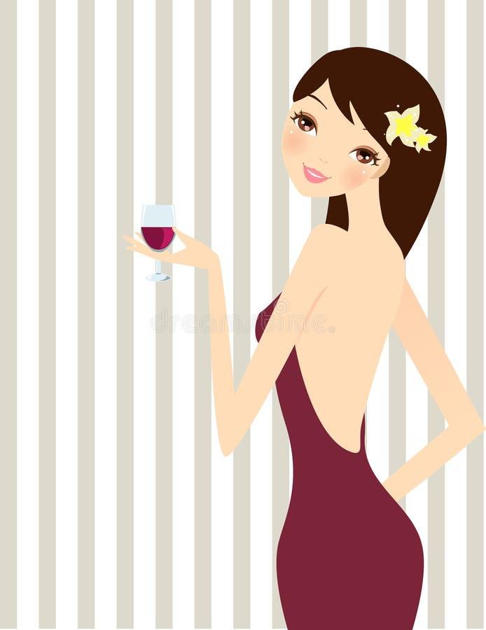 красивейшая чашка выпивая шикарное вино девушки иллюстрация вектора