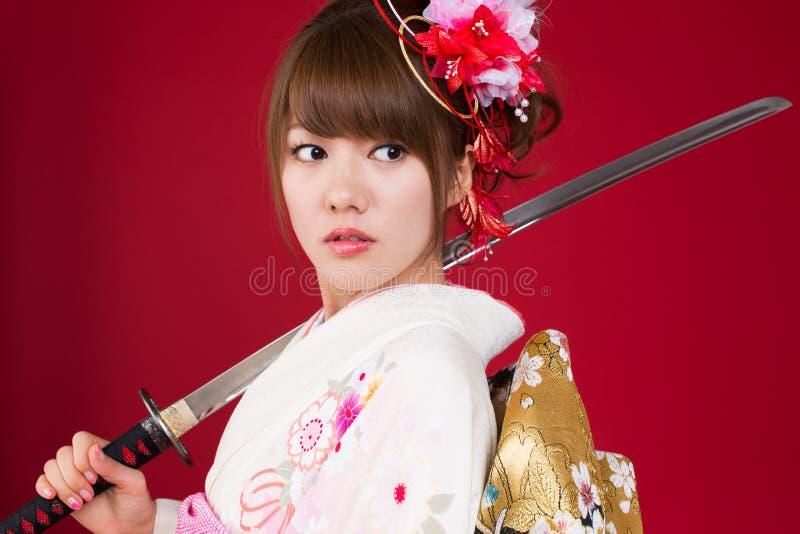 Японская женщина кимоно стоковые изображения
