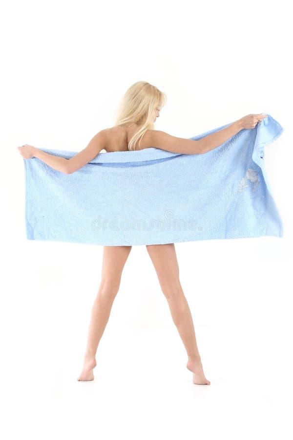 красивейшее белокурое голубое полотенце повелительницы стоковое фото rf