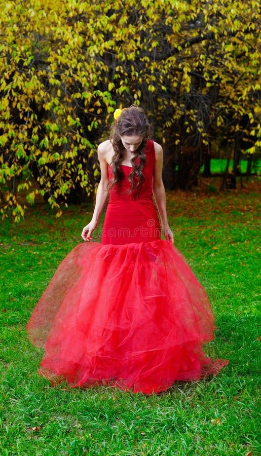 Красивейшее брюнет в красном платье стоковое изображение