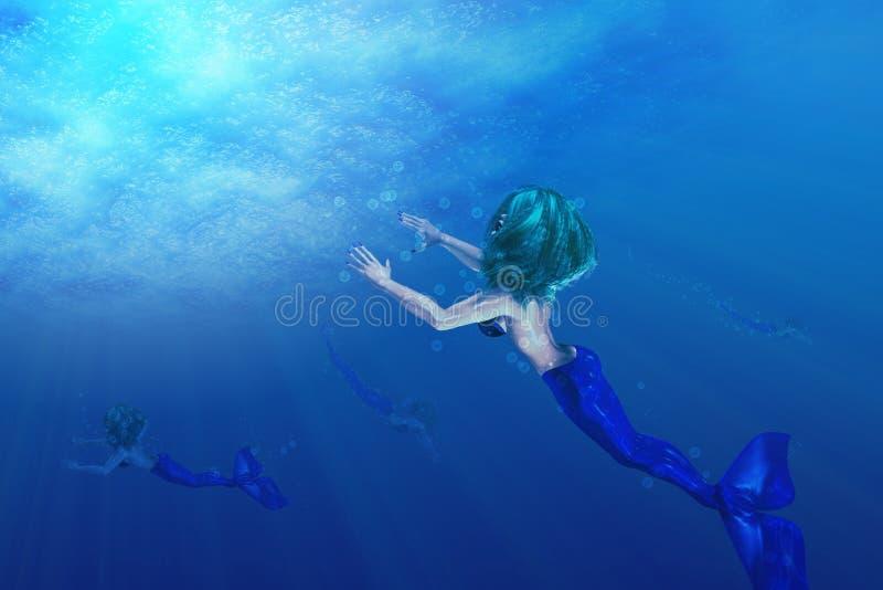 Красивейшее заплывание русалки иллюстрация штока