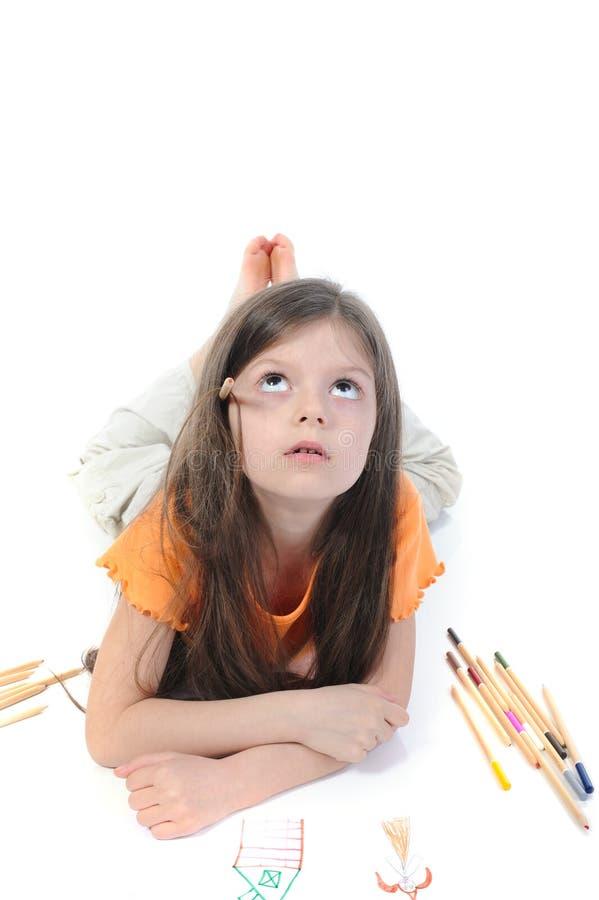 красивейше рисует девушку меньший карандаш стоковое изображение