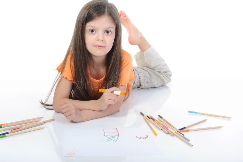 красивейше рисует карандаши девушки маленькие стоковые фотографии rf