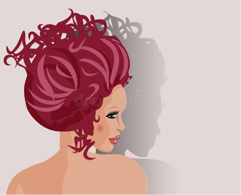 красивейше сделайте волос девушки вверх иллюстрация вектора