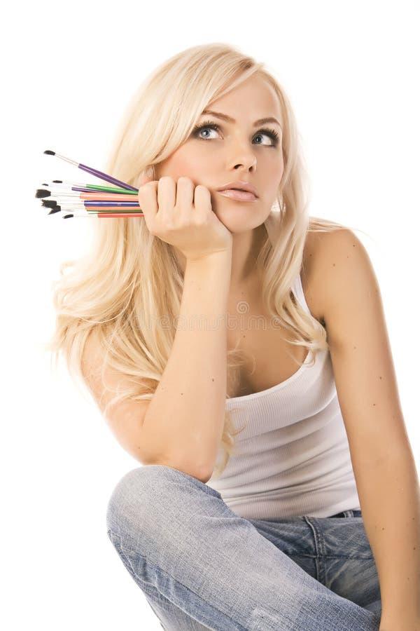 красивейшие белокурые покрашенные карандаши очень стоковое фото