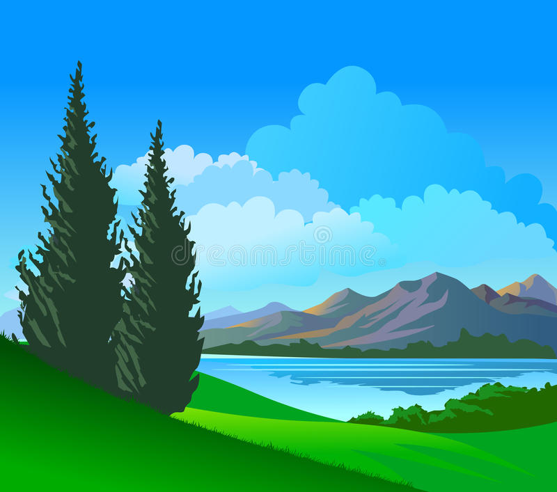 красивейшие валы берег реки сосенки холмов иллюстрация штока