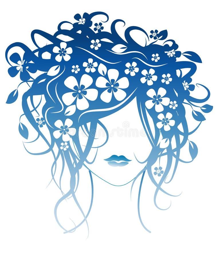 красивейшие волосы девушки цветков иллюстрация вектора