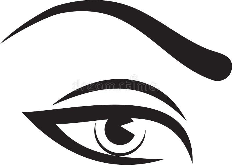 Глаз и чело женщины иллюстрация штока