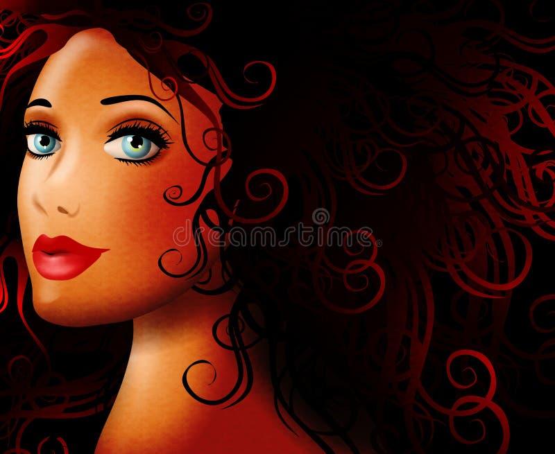 красивейшие детеныши женщины темноты иллюстрация штока