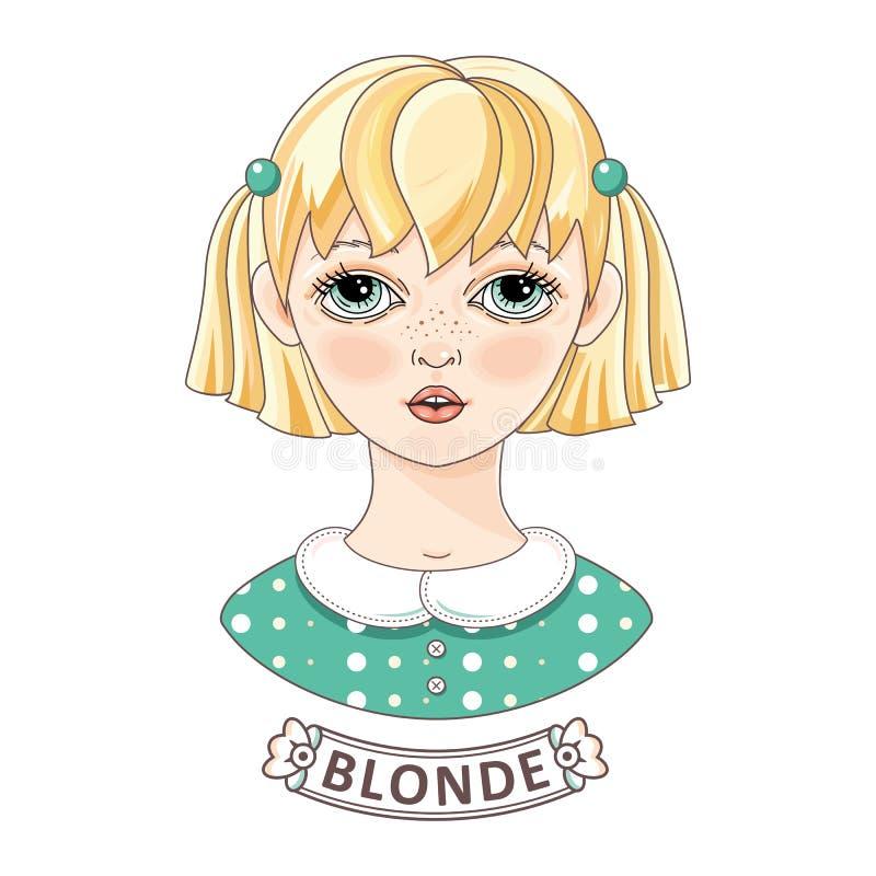 красивейшие детеныши портрета девушки Белокурый подросток в зеленом платье иллюстрация штока