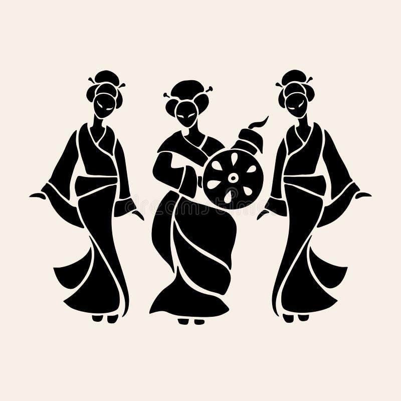 красивейшие китайские женщины иллюстрация штока