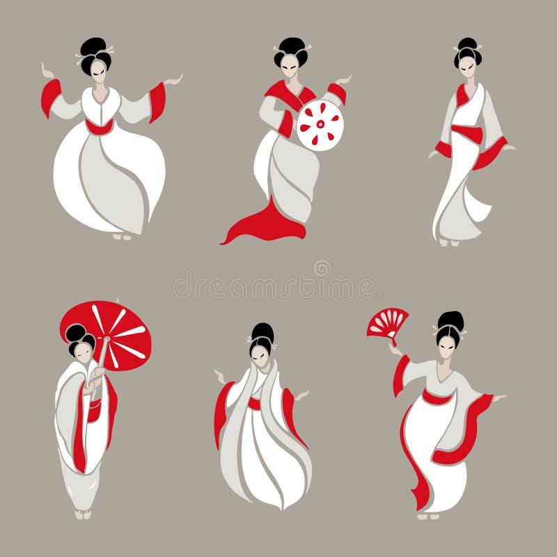 красивейшие китайские женщины иллюстрация вектора