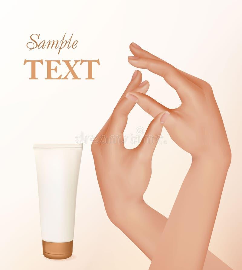 красивейшие французские руки manicure женщина иллюстрация штока