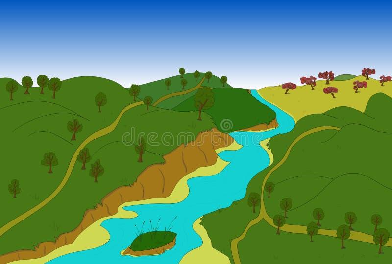 красивейший ландшафт страны вектор иллюстрация штока