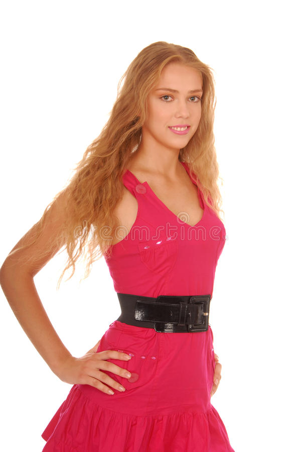 красивейший белокурый пинк девушки платья стоковая фотография