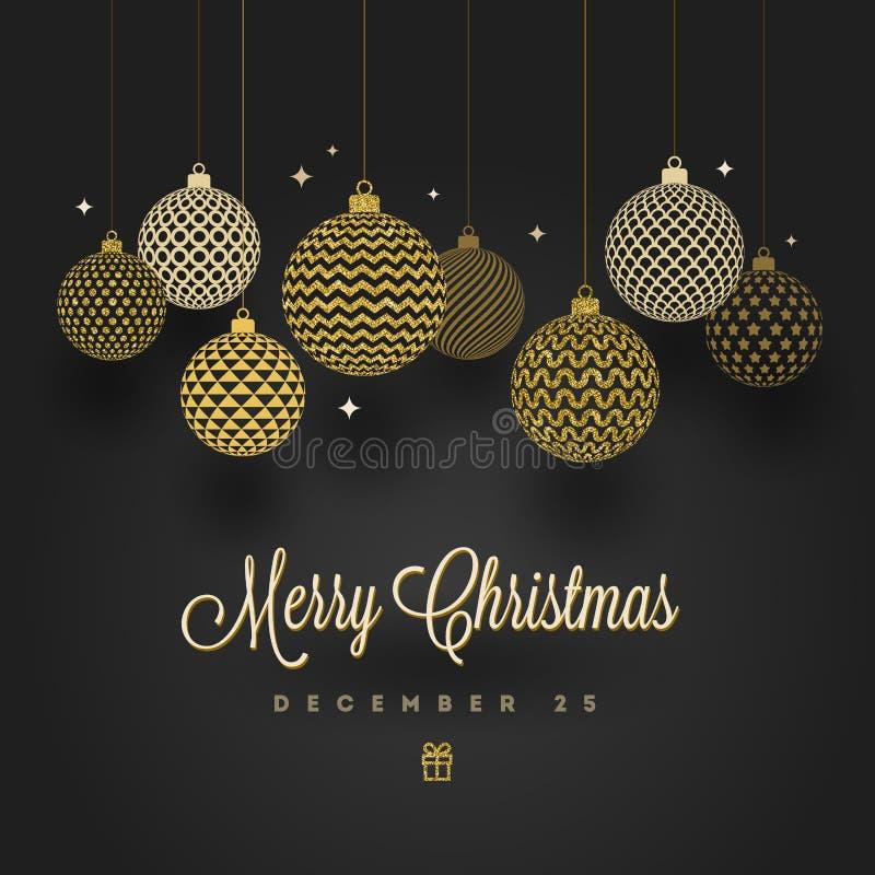 красивейший вектор иллюстрации конструкции рождества Сделанные по образцу золотые безделушки на черной предпосылке иллюстрация штока