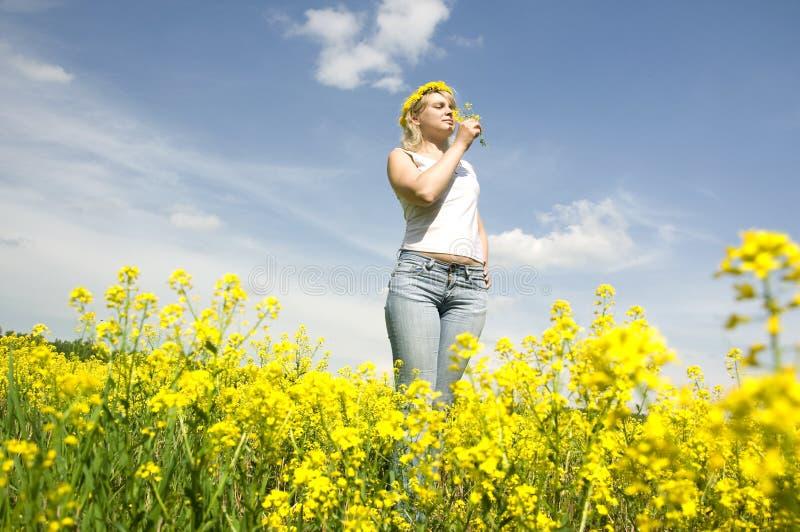 красивейший венок женщины головки цветка стоковые изображения