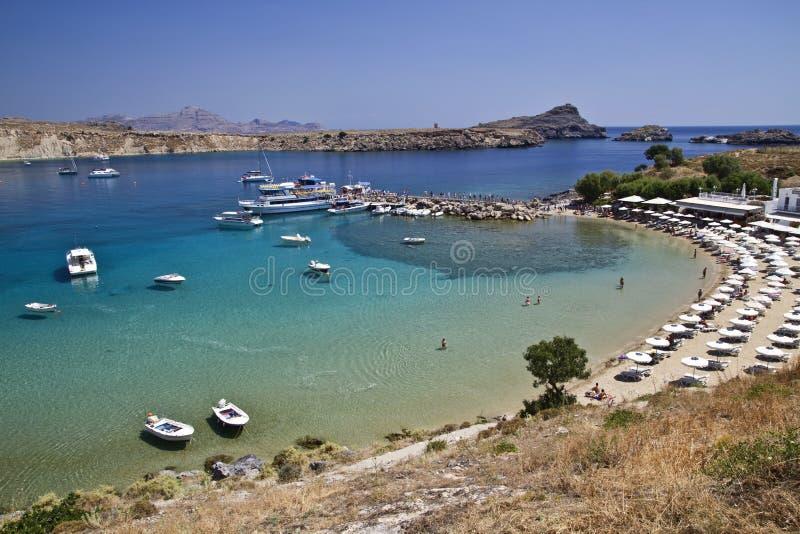 Красивейший взгляд гавани Lindos стоковое изображение rf