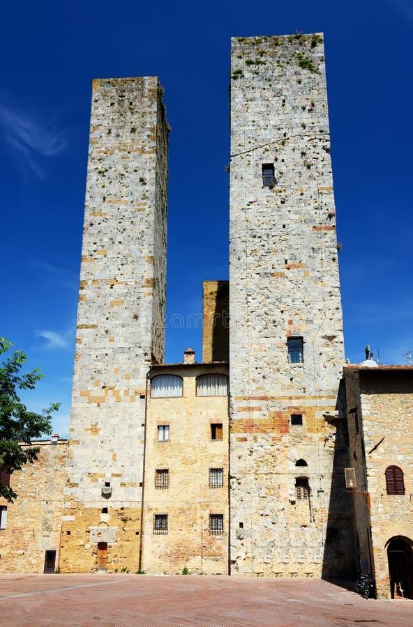 красивейший городок Тоскана башен san gimignano стоковые фото