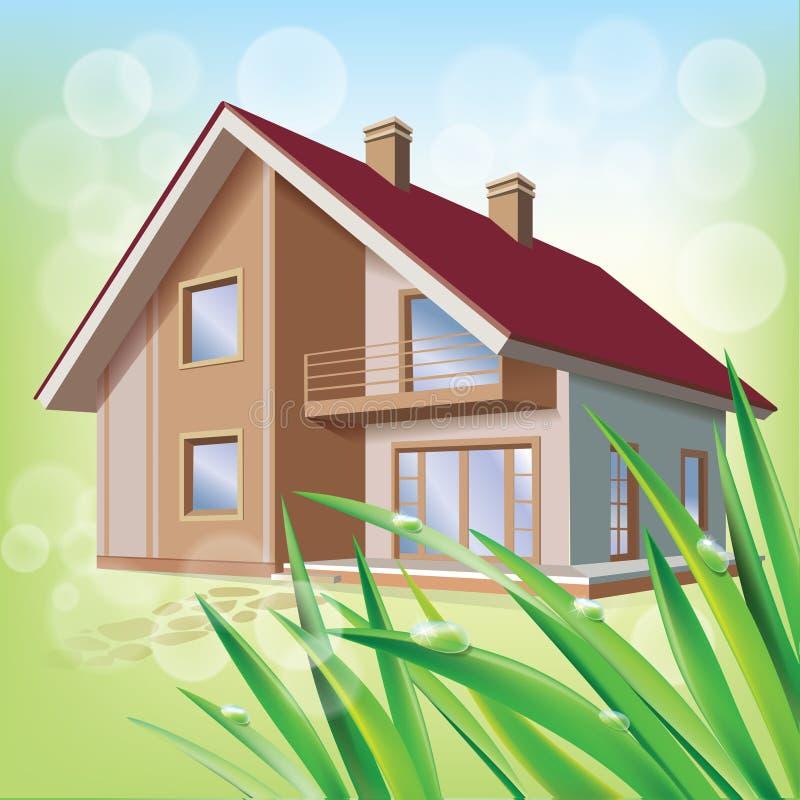 Красивейший дом eco иллюстрация вектора