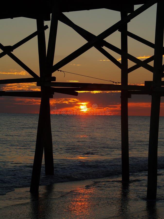 красивейший заход солнца пристани nc стоковые изображения rf