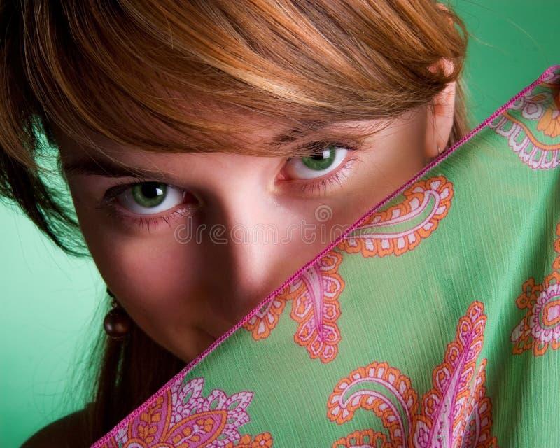 красивейший зеленый цвет девушки глаз стоковые изображения rf