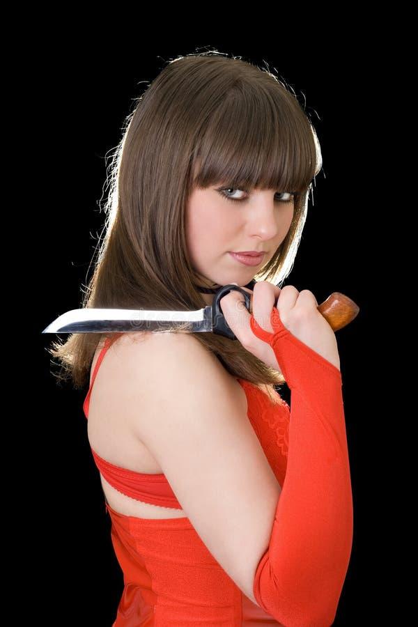 красивейший нож девушки стоковое изображение