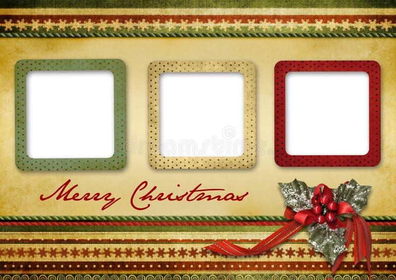 красивейший сбор винограда приветствию рождества карточки иллюстрация вектора