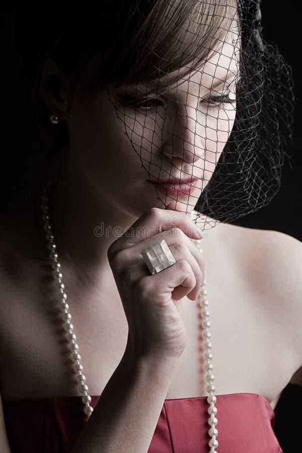 красивейший сбор винограда типа девушки одежды стоковое изображение