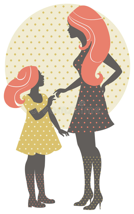 Красивейший силуэт матери с ее дочью иллюстрация штока
