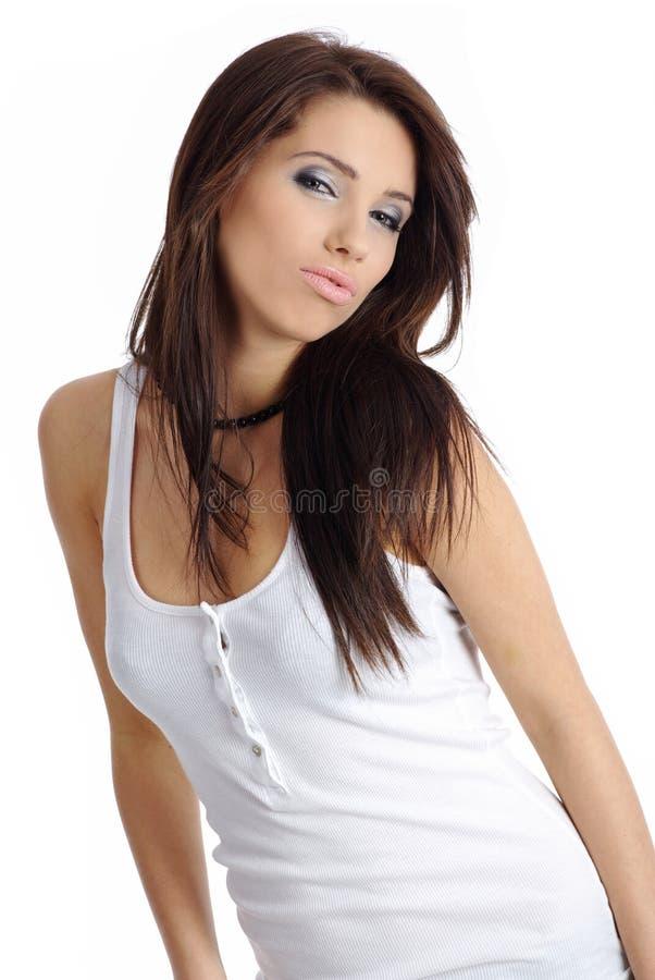 красивейший стиль причёсок девушки стоковая фотография