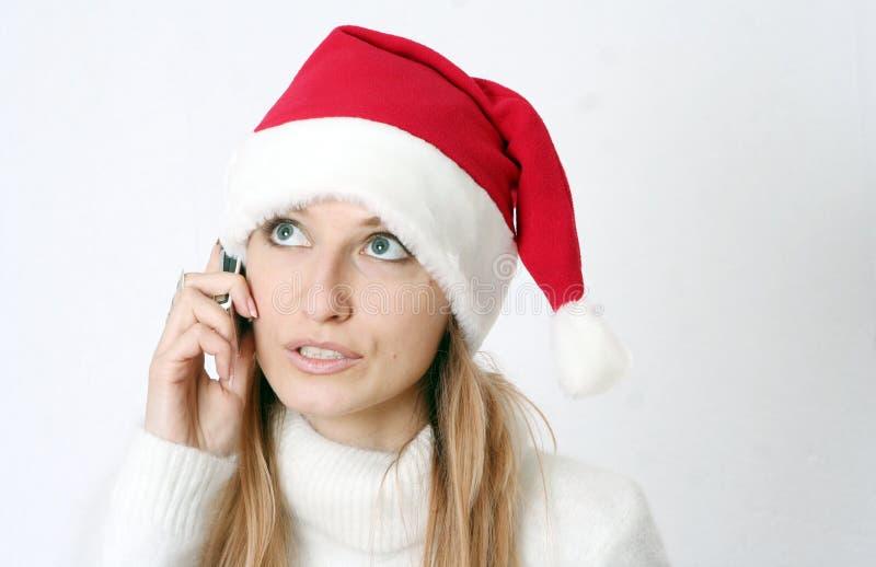 красивейший телефон девушки говорит стоковые изображения