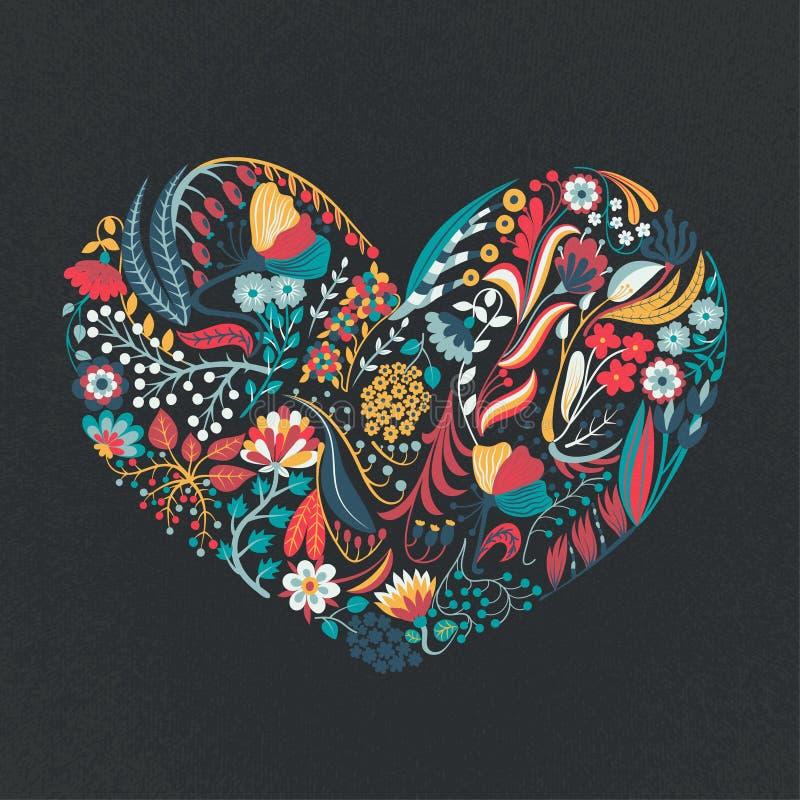 красивейший флористический вектор иллюстрации сердца Цветки нарисованные рукой творческие романско Красочная художническая предпо иллюстрация вектора