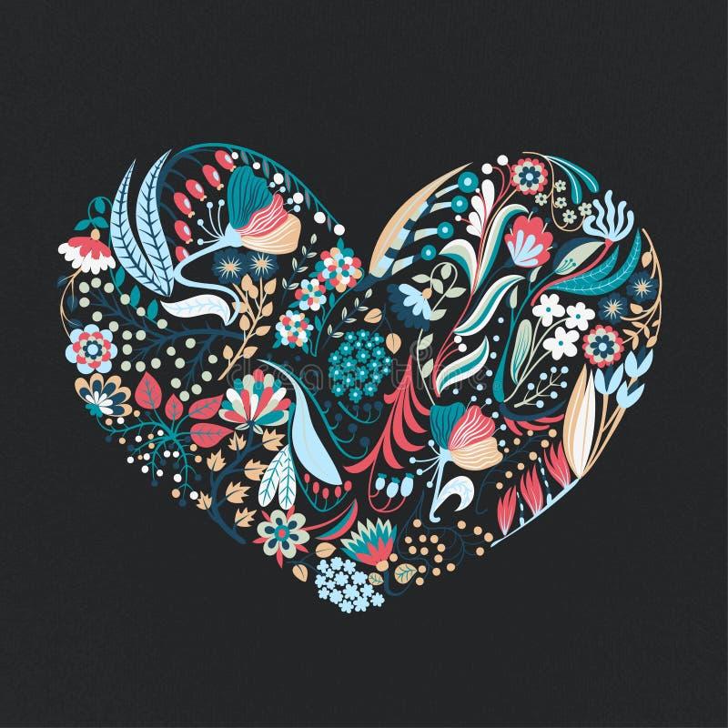 красивейший флористический вектор иллюстрации сердца Цветки нарисованные рукой творческие романско Красочная художническая предпо бесплатная иллюстрация