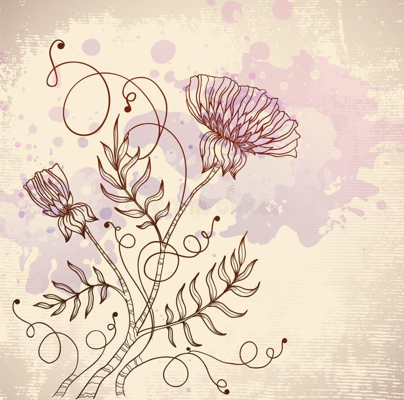красивейший цветок ретро иллюстрация вектора
