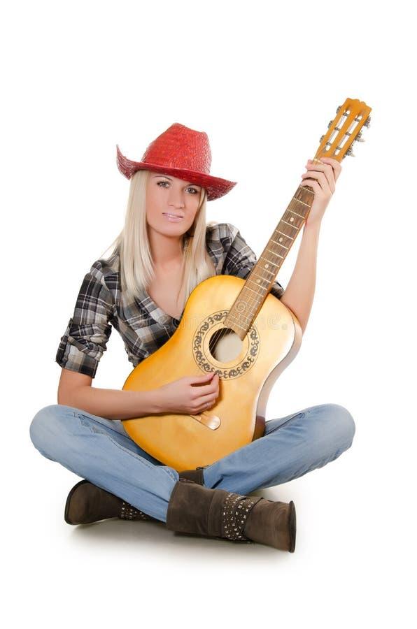 красивейший шлем девушки ковбоя изолировал s стоковое изображение rf