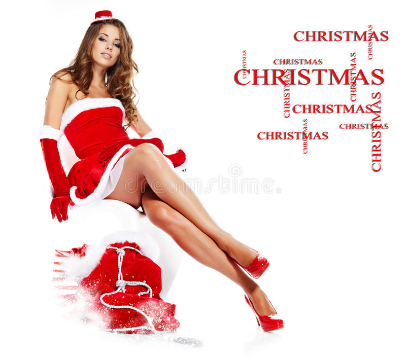красивейший claus одевает носить santa девушки стоковые фотографии rf