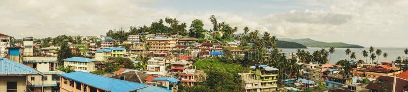 красивое взгляд сверху города Port Blair стоковая фотография rf